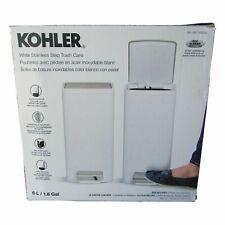 Kohler White Stainless Steel 2.5 Gallon Soft Close Bathroom Trash Can NOB