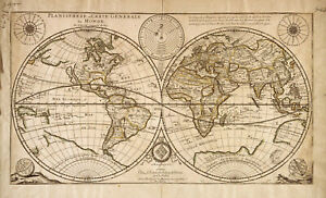 Vintage OLD Poster Print canvas map of world