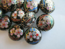 Black Puffy Round 16x7 Cloisonne Beads w/Blues, Pinks, Greens & Gold - 30 Pieces