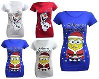 New Womens Ladies Plus Size Christmas Xmas Frozen Olaf Print T-Shirt Tops 16-26