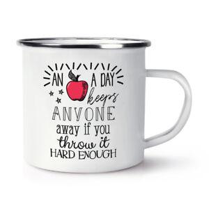 An Apple A Day Keeps Anyone Away Retro Enamel Mug Cup - Funny Joke