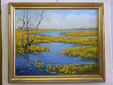 """Marsh marigold - spring"" oil on canvas, listed artist Irek T. Szelag"