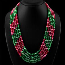 5 Rows Natural 4/6mm Emerald & Ruby Round Gemstone Beads Necklace 18-22''