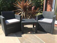 Allibert Keter Allegro Rattan Balcony Garden Patio Outdoor Set 2 Armchairs  Table