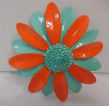 Vintage Aqua Blue Orange Daisy Enamel Flower Brooch Pin