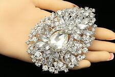 wedding teardrop bride crystal rhinestone silver plated brooch pin pendant F93