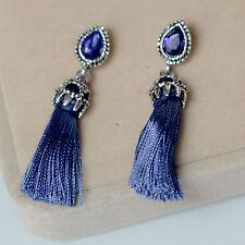 Boucles d'Oreilles Clous Argenté Goutte Bleu Marine Pompon Cotton Vintage BB 9
