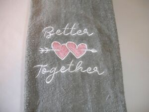New! Set/2 Embroidered Valentine's Hearts Together Terry Cotton Hand Towels Set