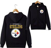 Pittsburgh Steelers Sports Hoodies Zip-up Sweatshirt Hooded Coat Jacket Fan Gift