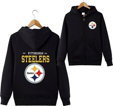 Pittsburgh Steelers Sports Hoodies Zip-up Sweatshirt Hooded Coat Jacket Fan Gift