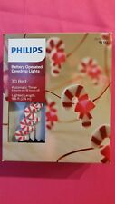 NEW Philips 30 Christmas Battery LED Red &White Candy Cane Dewdrop String Lights