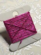 Fuchsia Pink Silky Metallic twine thread x 3m Wonderfil Dazzle handwork beadwork