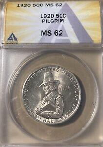 1920 ANACS MS62 Pilgrim Silver Commemorative Half Dollar!