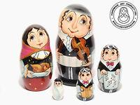 Rabbi Nesting Dolls 5 pcs, Matryoshka 6.25''/16cm
