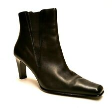 "LAURA ASHLEY SICILY Womens 9M Black Leather Slip On Ankle Boots 3"" Heel Shoes"