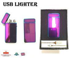 DOUBLE ARCH ELECTRIC LIGHTER Flameless Plasma Metal USB Lighter 006 RAINBOW