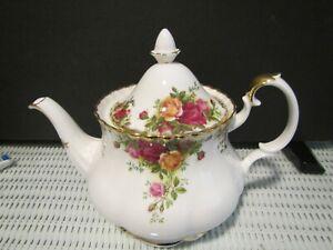 Royal Albert Old Country Rose Tea Pot 1962 Seconds Mark