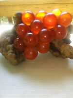 Vintage Large Acrylic Lucite Amber Grapes Cluster On Driftwood & Rock RARE