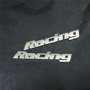 2x Chrome Racing Metal Emblem Badge Sticker Decal 3D Sports v6 Car Motors Engine