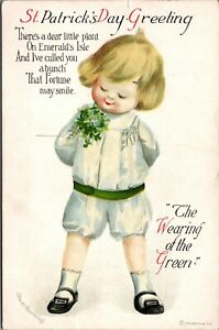 Vtg St Patricks Day Greeting Boy Wearing Of Green Embossed Clapsaddle Postcard