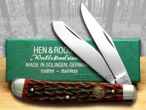 Hen & Rooster Medium Trapper Knife Red Pick Bone Pocket 412-RPB