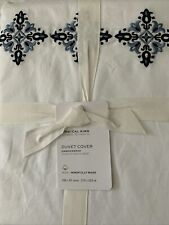 New ListingPottery Barn Tile Embroidered Organic Percale Duvet Cover King Cool Multi Nwt