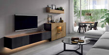 Wohnwand Royal in Wildeiche + Carbon + Bronze / Softclose Lowboard + Highboard