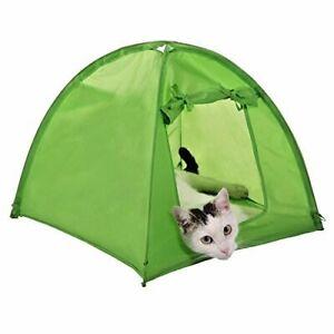 Cat Kitten Camp Tent Den Home House Pet Camping Outdoor Indoor Cozy Green Tent