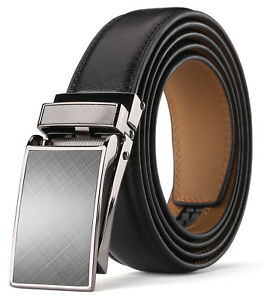"Men's Genuine Leather Ratchet Dress Belt 1 1/8"" Wide with Automatic Click Buckle"