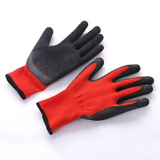 Black Red Nylon PU Safety Work Gloves Builders Grip Palm Coating Gloves/1 pair