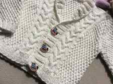 Knit Baby Organic Cotton Sweater, Hand Knitted White Baby Cardigan, Baby boy