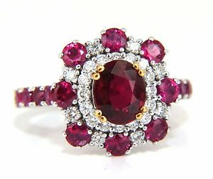 GIA Certified 2.92ct Natural Ruby Diamond Ring 14kt Cluster prime+