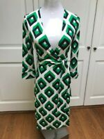 Diane von Furstenberg  Julian Green Navy White Silk Wrap Dress Size 6 Vintage