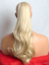 "Clip in Hair Pony Tail Hair Extension Wavy long Trio Blonde #14/24/613 21"" JADE"