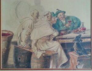"Original pencil drawing by Czech artist  ""Drunken Priests"", WW2 era"