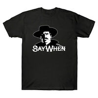 Say When Doc Holliday Tombstone Movie Vintage Men's Cotton Black T Shirt Tee Top