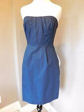 NWT J Crew Erica Dress in Cotton Taffeta NAVY Sz 0 Extra Small XS 54789 $225