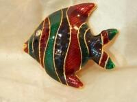 Vintage 1980's Enamel Rhinestone Fish Brooch 92S8