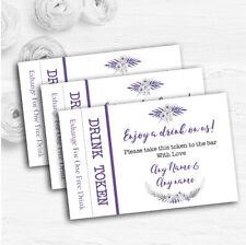 Purple & Silver Subtle Floral Personalised Wedding Bar Free Drink Tokens