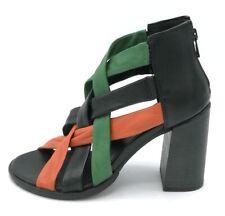 Mjus 780014 sandalo intrecciato in pelle nero-verde-arancio