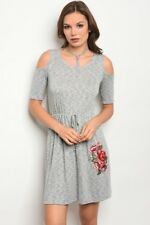 Gilli - Cold Shoulder Grey Marled Knit Dress With Appliqued Red Roses.