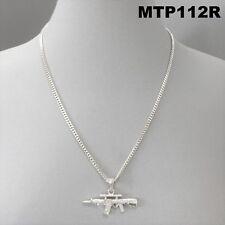 Ak-47 Gun Design Pendant Clear Rhinestones Silver Tone Cuban Link Chain Necklace