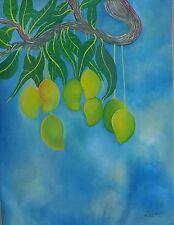 "Haitian Folk art painting famous artist Aland Estime Mangos Fruits Haiti 30""X40"""