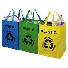 Set of 3 Recycle Sorting Bags Bin Glass / Plastic / Paper