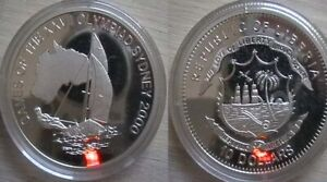 LIBERIA for Sydney 2000 Olympics. Silver proof coin.