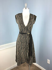 BCBG maxazria True wrap dress black brown print career cocktail XS Excellent