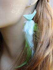 Spring bird earrings - pale aqua & grass green feathers, ceramic bird, silver