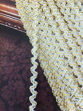 Fancy Gold Metallic / White Ric Rac Braid Trim 7mm x 2 meters double sided