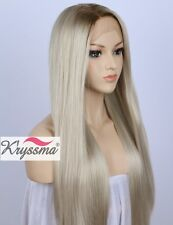Long Straight Ombre Blonde Synthetic Lace Front Wig Dark Roots Synthetic Wigs 22