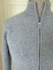 SAKS FIFTH AVENUE Heather-Grey 100%Heavy Cashmere FullZip-Front Sweater Jumper S